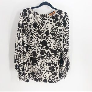 Tory Burch Silk Brown Spotted Long Sleeve Blouse